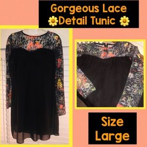 Tops - Gorgeous black tunic with colorful lace detail 🌺